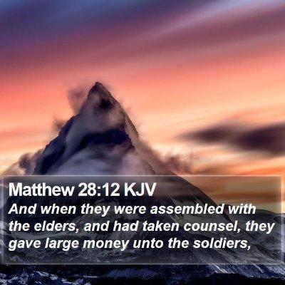 Matthew 28:12 KJV Bible Verse Image