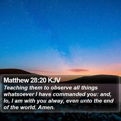 Matthew 28:20 KJV Bible Verse Image