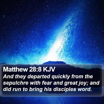 Matthew 28:8 KJV Bible Verse Image