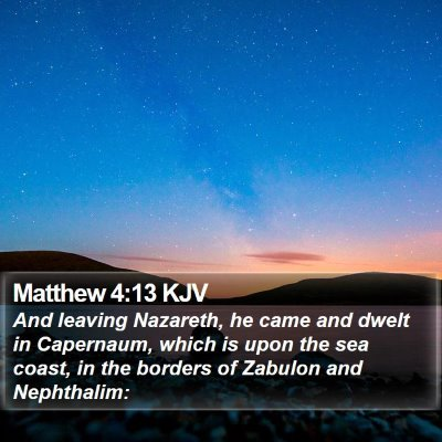 Matthew 4:13 KJV Bible Verse Image