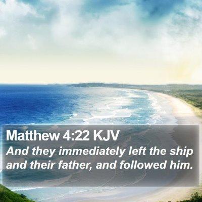 Matthew 4:22 KJV Bible Verse Image