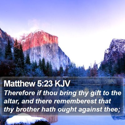 Matthew 5:23 KJV Bible Verse Image