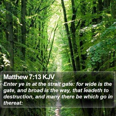 Matthew 7:13 KJV Bible Verse Image