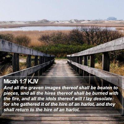 Micah 1:7 KJV Bible Verse Image