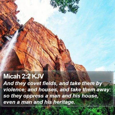 Micah 2:2 KJV Bible Verse Image
