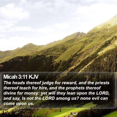 Micah 3:11 KJV Bible Verse Image