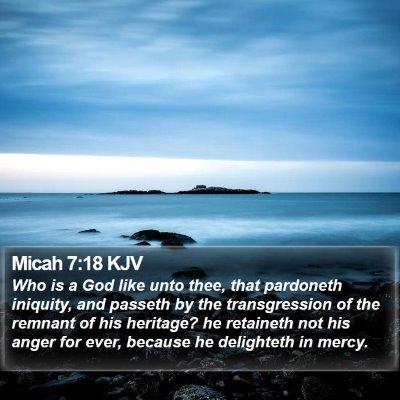 Micah 7:18 KJV Bible Verse Image