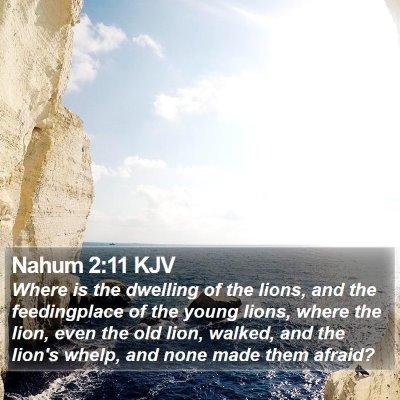 Nahum 2:11 KJV Bible Verse Image