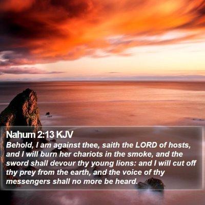 Nahum 2:13 KJV Bible Verse Image