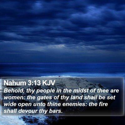 Nahum 3:13 KJV Bible Verse Image