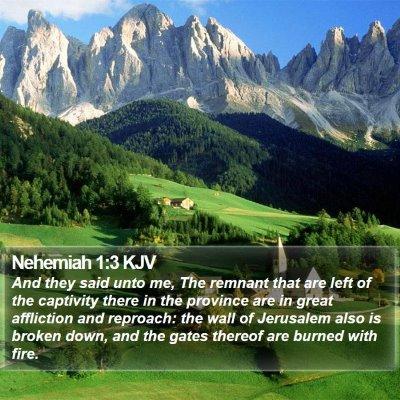 Nehemiah 1:3 KJV Bible Verse Image