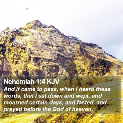 Nehemiah 1:4 KJV Bible Verse Image