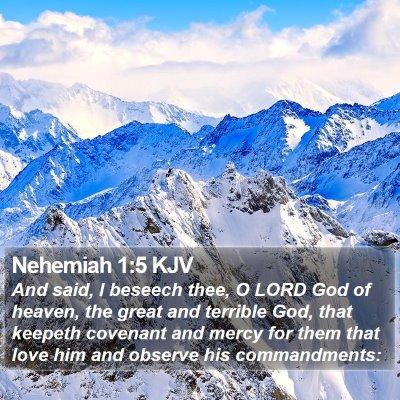 Nehemiah 1:5 KJV Bible Verse Image