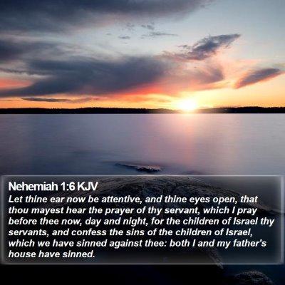 Nehemiah 1:6 KJV Bible Verse Image