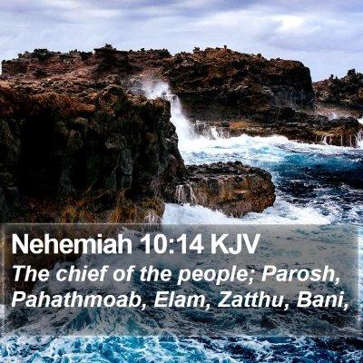 Nehemiah 10:14 KJV Bible Verse Image