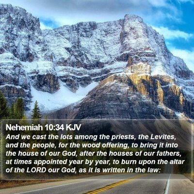 Nehemiah 10:34 KJV Bible Verse Image