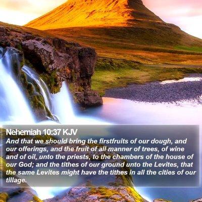 Nehemiah 10:37 KJV Bible Verse Image
