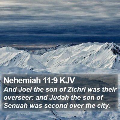 Nehemiah 11:9 KJV Bible Verse Image