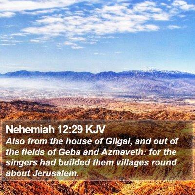 Nehemiah 12:29 KJV Bible Verse Image