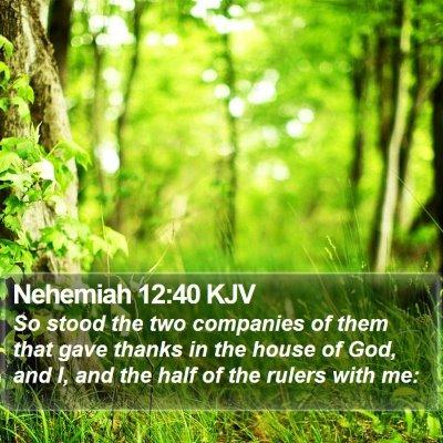 Nehemiah 12:40 KJV Bible Verse Image