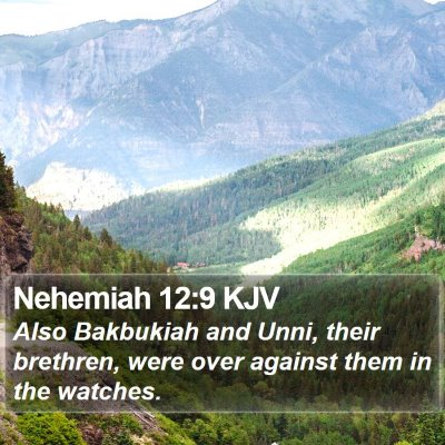 Nehemiah 12:9 KJV Bible Verse Image