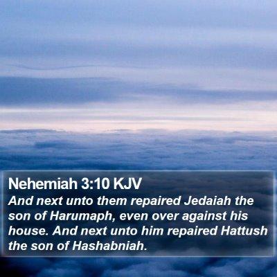 Nehemiah 3:10 KJV Bible Verse Image