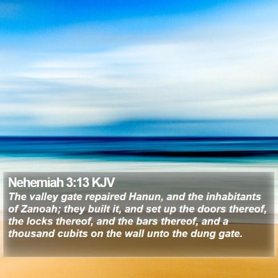 Nehemiah 3:13 KJV Bible Verse Image