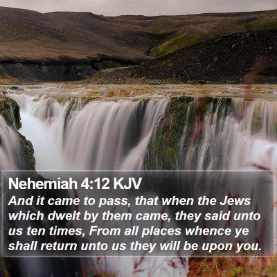 Nehemiah 4:12 KJV Bible Verse Image