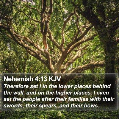 Nehemiah 4:13 KJV Bible Verse Image