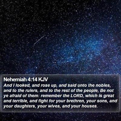 Nehemiah 4:14 KJV Bible Verse Image
