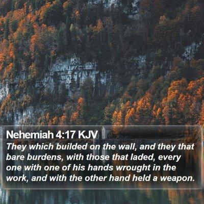 Nehemiah 4:17 KJV Bible Verse Image