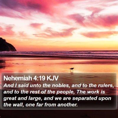 Nehemiah 4:19 KJV Bible Verse Image