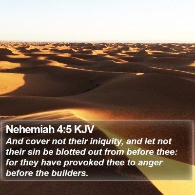 Nehemiah 4:5 KJV Bible Verse Image