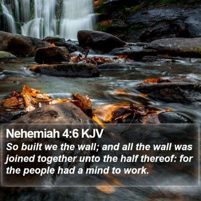 Nehemiah 4:6 KJV Bible Verse Image