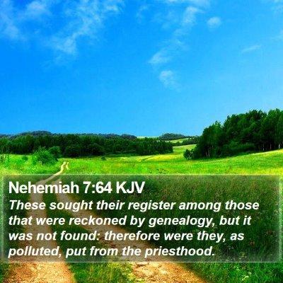 Nehemiah 7:64 KJV Bible Verse Image
