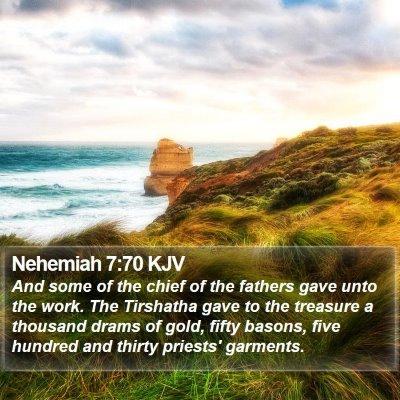 Nehemiah 7:70 KJV Bible Verse Image