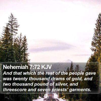 Nehemiah 7:72 KJV Bible Verse Image