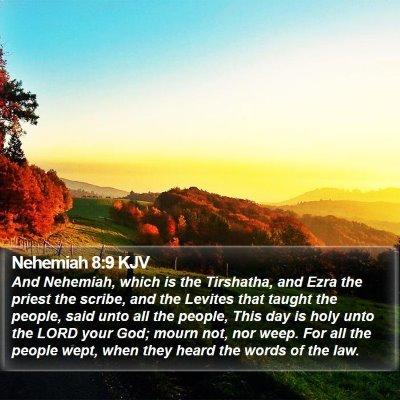 Nehemiah 8:9 KJV Bible Verse Image
