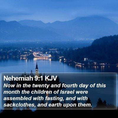 Nehemiah 9:1 KJV Bible Verse Image