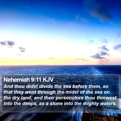 Nehemiah 9:11 KJV Bible Verse Image