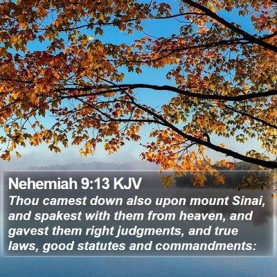 Nehemiah 9:13 KJV Bible Verse Image
