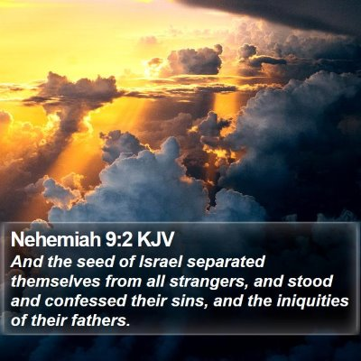 Nehemiah 9:2 KJV Bible Verse Image