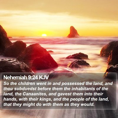 Nehemiah 9:24 KJV Bible Verse Image