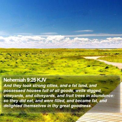 Nehemiah 9:25 KJV Bible Verse Image