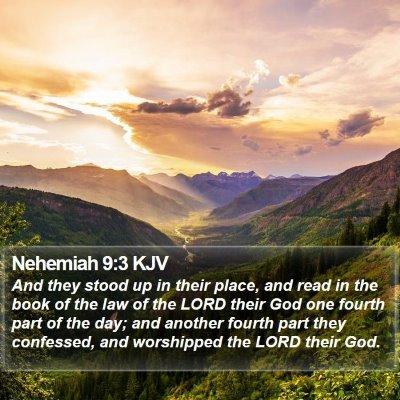 Nehemiah 9:3 KJV Bible Verse Image
