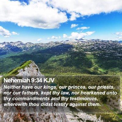 Nehemiah 9:34 KJV Bible Verse Image
