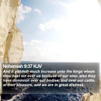 Nehemiah 9:37 KJV Bible Verse Image