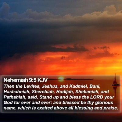 Nehemiah 9:5 KJV Bible Verse Image