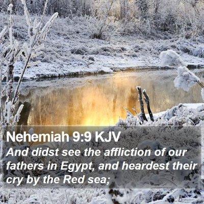 Nehemiah 9:9 KJV Bible Verse Image
