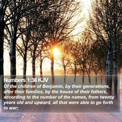 Numbers 1:36 KJV Bible Verse Image